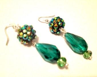 TEAL Mermaid's Garden rhinestone and crystal drop earrings