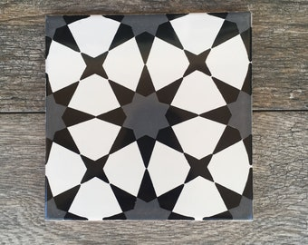 Black, Gray, and White Mexican Tile Trivet