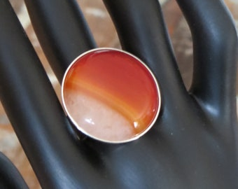 Sterling Silver Ring adjustable red agate druzy 0,98 inch