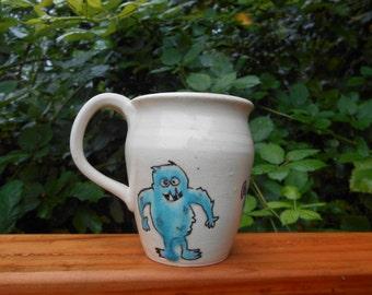 Handmade monster Coffee mug porcelain