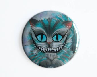 Pocket Mirror - Cheshire Cat with Velvet bag - Cheshire Cat Alice in Wonderland Alternative Kitty Puss Grin Teeth UK Compact Mirror