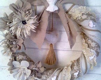 Crown shabby antique linen