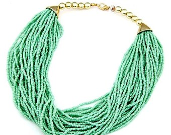 New Listing Light Green Multistrand Magnetic Clasp Beaded Necklace