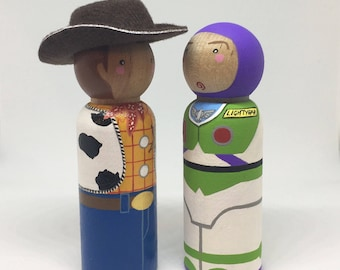 Buzz & Woody - Toy Story Inspired Peg Dolls