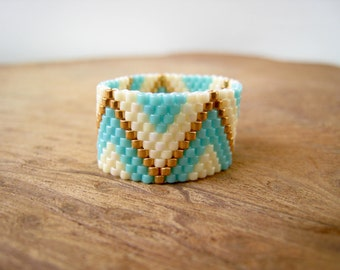 Turquoise and Gold  Zig-Zag Beaded Band Ring, Hand-stitched