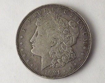 1921 Morgan Silver Dollar Collectible Coin, 1921 One Dollar Coin Philadelphia, Vintage Coin