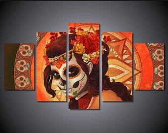 5 Panels Day of the Dead Face Canvas Prints HD Painting Wall Art Home Decor FRAMED or UNFRAMED