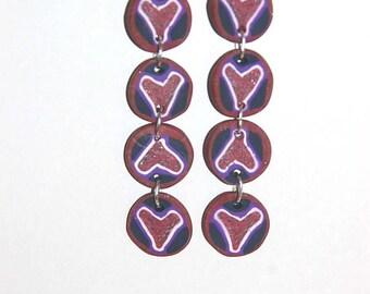 Long dangly heart earrings