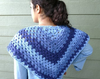 Poncho blue tones Accessories gift for Mom gift for teen wraps chic crochet poncho