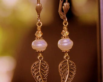 Rustic Boho Leaf Earrings with Cream Glass Pearls, Swarovski Crystals & Rustic Brass Filigree Leaf Charms, Bohemian Hippie Chic Jewelry