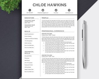 5 Pages Resume Template for Word | CV Template | Cover Letter | Creative Resume | Professional CV Design | Instant Download Resume | CHLOE