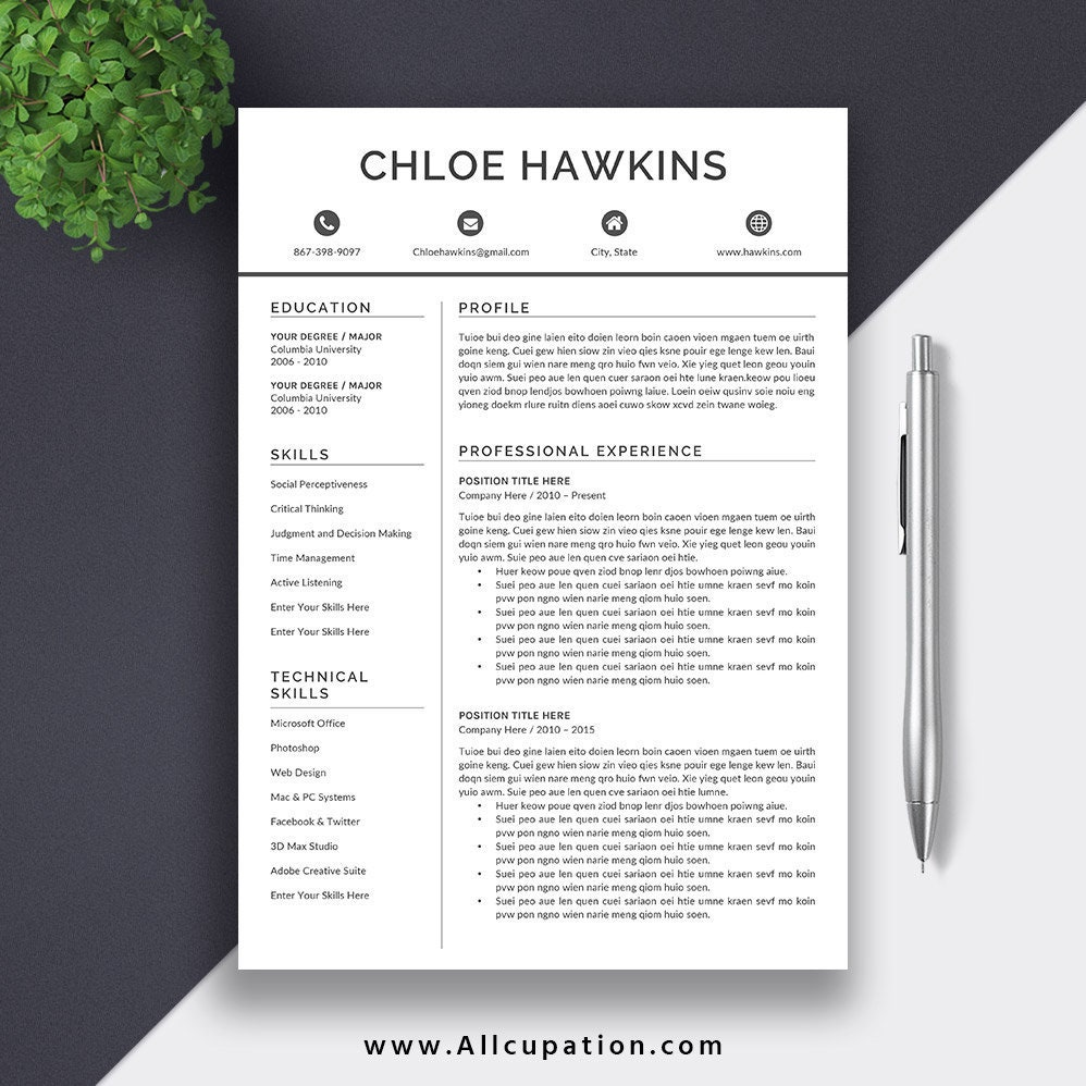 etsy resume template 5 pages resume template for instant download the chloe resume - Etsy Resume Template