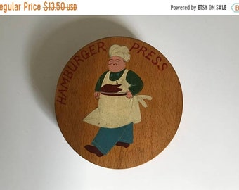 Sale - Mid Century 1950's Hand Painted Oak Hamburger Press with Chef Wall Hanging - Vintage Kitchen Decor