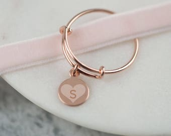 Adjustable Rose Single Initial Heart Ring