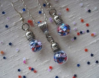 Patriotic pendant and earring set with sterling silver earwires, 4th of July jewelry, red white and blue jewelry, glass bottle jewelry