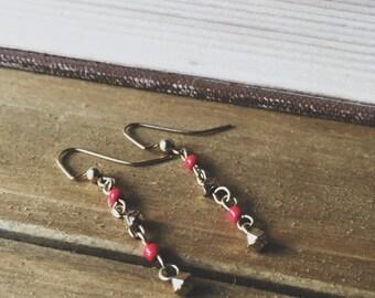 Simple Golden Orange Dangle Earrings