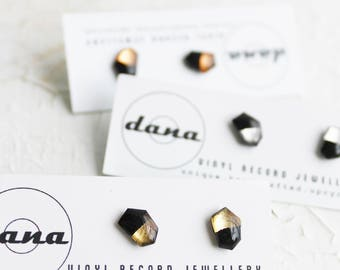 contemporary studs black and gold studs geometric stud earrings eco-friendly jewelry minimal jewelry upcycled gift idea for her vinyl record