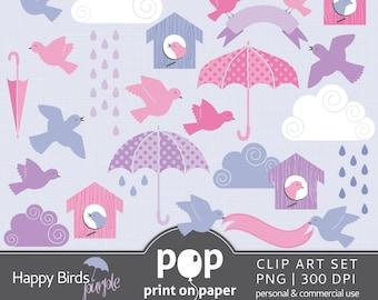 Bird Clip Art HAPPY BIRDS Purple Pink 25 Clip Arts, Birds, Umbrellas, Rain, Rainy days, Spring days, Baby Shower, Birthday Party theme