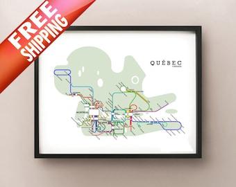 Quebec Metro Subway Style Map Art Print