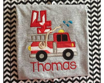 Fire Truck Firefighter Birthday Applique Onesie or TShirt
