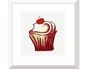 10x10'' Matted ART Print : Cupcake
