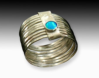 Romanesque Ring - hammered gold rings with Lab Opal or Garnet