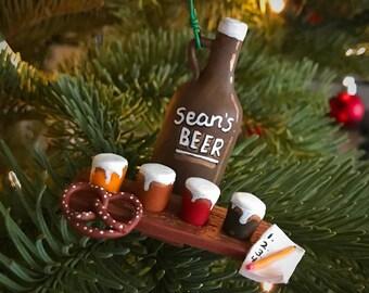 Personalized, Custom Beer Tasting Christmas Ornament