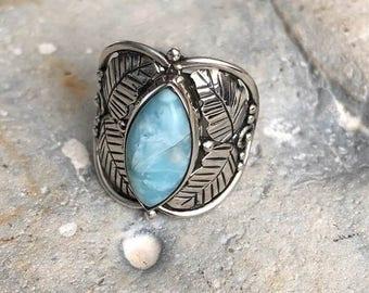 Caribbean Larimar 925 Sterling Silver Leaf Ring