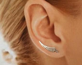 Sterling Silver,  EarWing, Ear Climber, Silver Fern, TW15, Minimalist, Earring, Modern, Simple, Elegant, Pair,