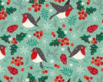 Pre-order Winter Birds Kitchen Tea towel Christmas robin holiday snow, linen cotton / theedoek - design by Heleen van den Thillart