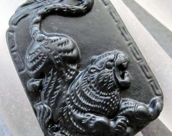 Natural Stone King Of Beasts Tiger Amulet Pendant 43mm x 32mm  TH116