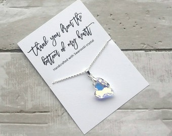 Thank you gift- Swarovski crystal heart necklace- gift for midwife- gift for nurse- bridesmaid gift-thank you from the bottom of my heart