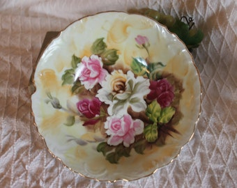 """Vintage Enesco Hand Painted 8"""" Serving Bowl - Pink Roses, Victorian Style, E-1433"""