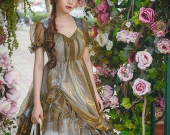 Gothic Lolita Cute Casual Summer Midi Dress Stained Glass Windows Jacquard Dollish Dress