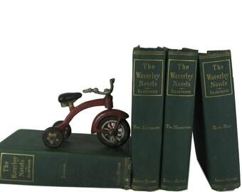 Antique Books for Farmhouse  Home Decor, Rustic Fall Decor, Green Decorative Books,  Book Decor,  Waverley Novels