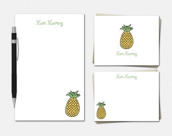 Pineapple Stationery Set - Personalized Pineapple Stationery - Pineapple Notepad - Pineapple Note Cards - Pineapple Stationary
