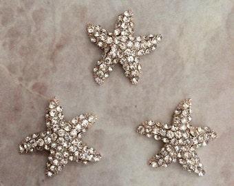 Rhinestone starfish buttons, starfish centers, headband supplies, gold button, gold and rhinestone, flat back button, beach wedding, wedding