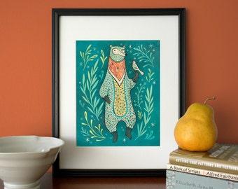 Bear Print, Woodland bear art, giclee archival print of original illustration