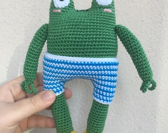 Frog Victor Frog Plush Frog Amigurumi Frog Stuffed Animal Toy Frog Plushie Frog Stuffed Toy, Frog Soft Toy