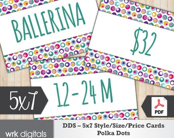 Dot Dot Smile Style Cards 5x7 Signs, Size Card, Price Sign, Fashion Consultant, Polka Dot Design, PRINTABLE, INSTANT DOWNLOAD
