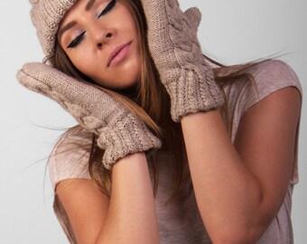 Beanie hat with mittens, knit beanie, knit mittens