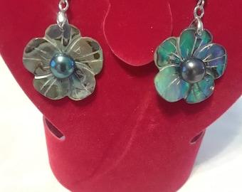 Black Abalone Flower Earring