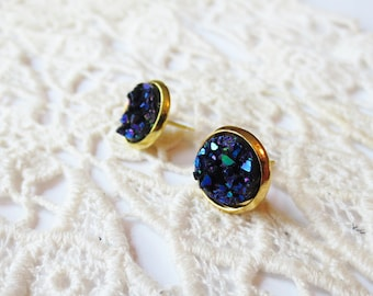 10mm tiny druzy stone earrings, navy blue earrings, gold studs