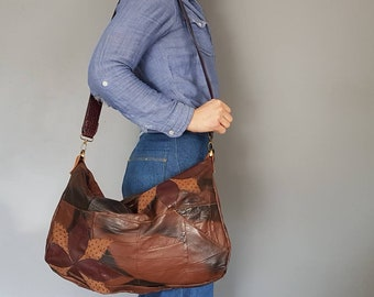 Large Slouchy Bag o' Crazy, Patchwork Leather Shoulder Bag, OOAK Upcycled Jacket