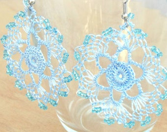 3 colors/Turkish OYA Needle Lace Earrings  CRYSTAL/Crocheted Jewelry Wedding Bib Flowers Accessories Dresses Jewelry