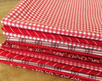 Red and White Cloth Dinner Napkins, Set of 6, 15 inch, by CHOW with ME