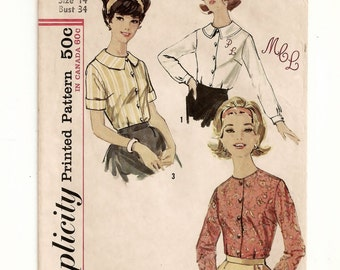 "A Short/Long Sleeve Blouse w/ Collarless/Collar Variations & Monogram Detail Pattern for Women: Retro Size 14, Bust 34"" • Simplicity 5030"