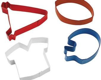 Football Theme Cookie Cutter Set - Wilton Sports Pennant Football Jersey Helmet Cookie Cutters - Football Cookie Cutters