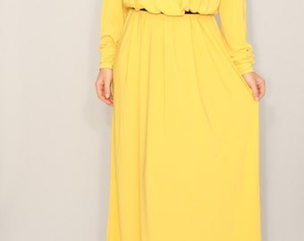 Maxi dresses for women Yellow plus size Long sleeve dress Batwing dress for women