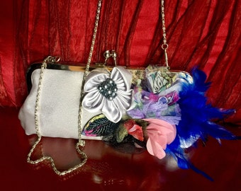 Pearl White Bridal Clutch Kisslock Purse Beaded Floral Handmade Feather Blue Glittery Shoulder Chain Strap Princess Bag 20s Wedding Formal